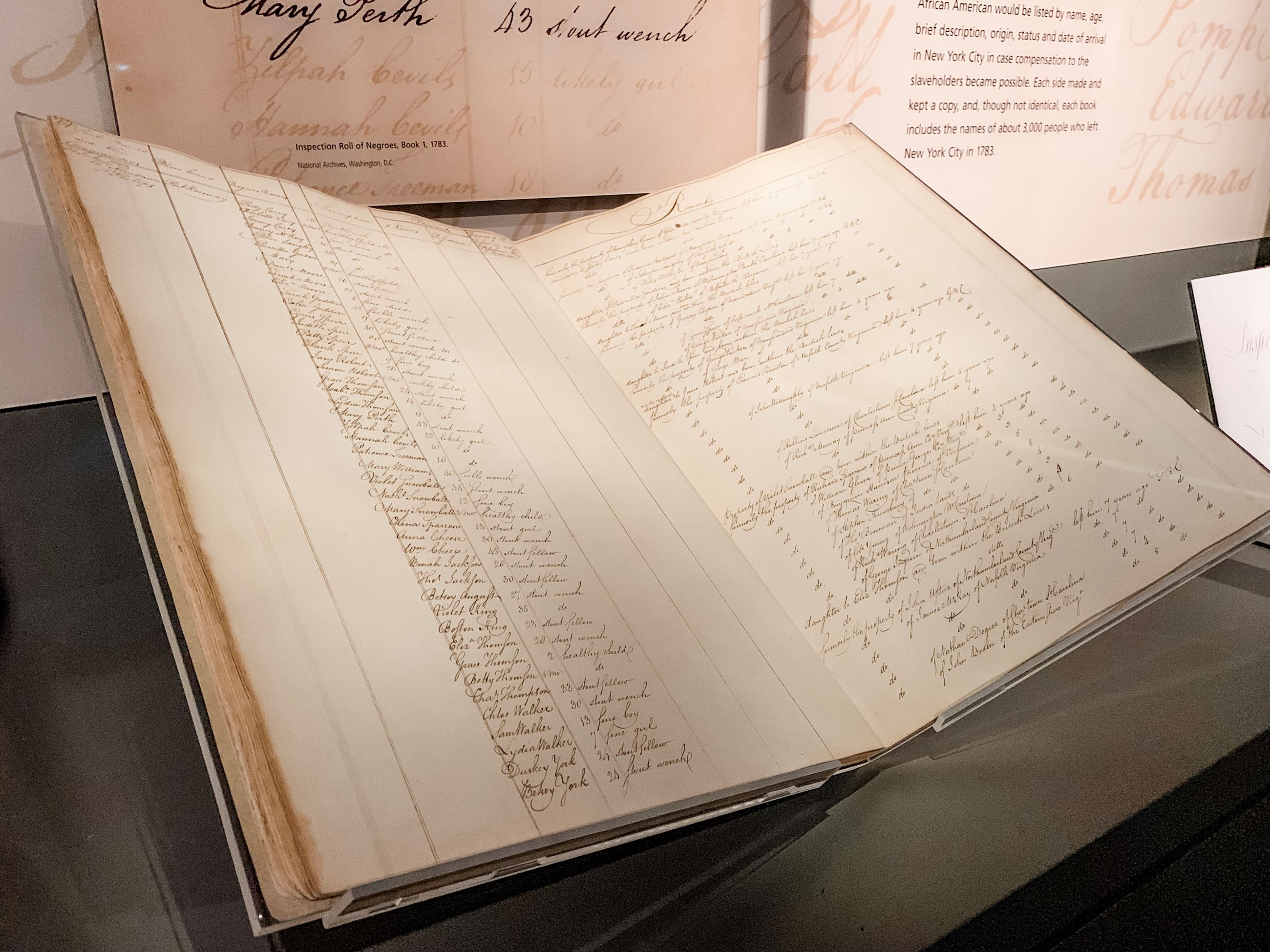 Book of Negroes on loan from the National Archives of the United Kingdom