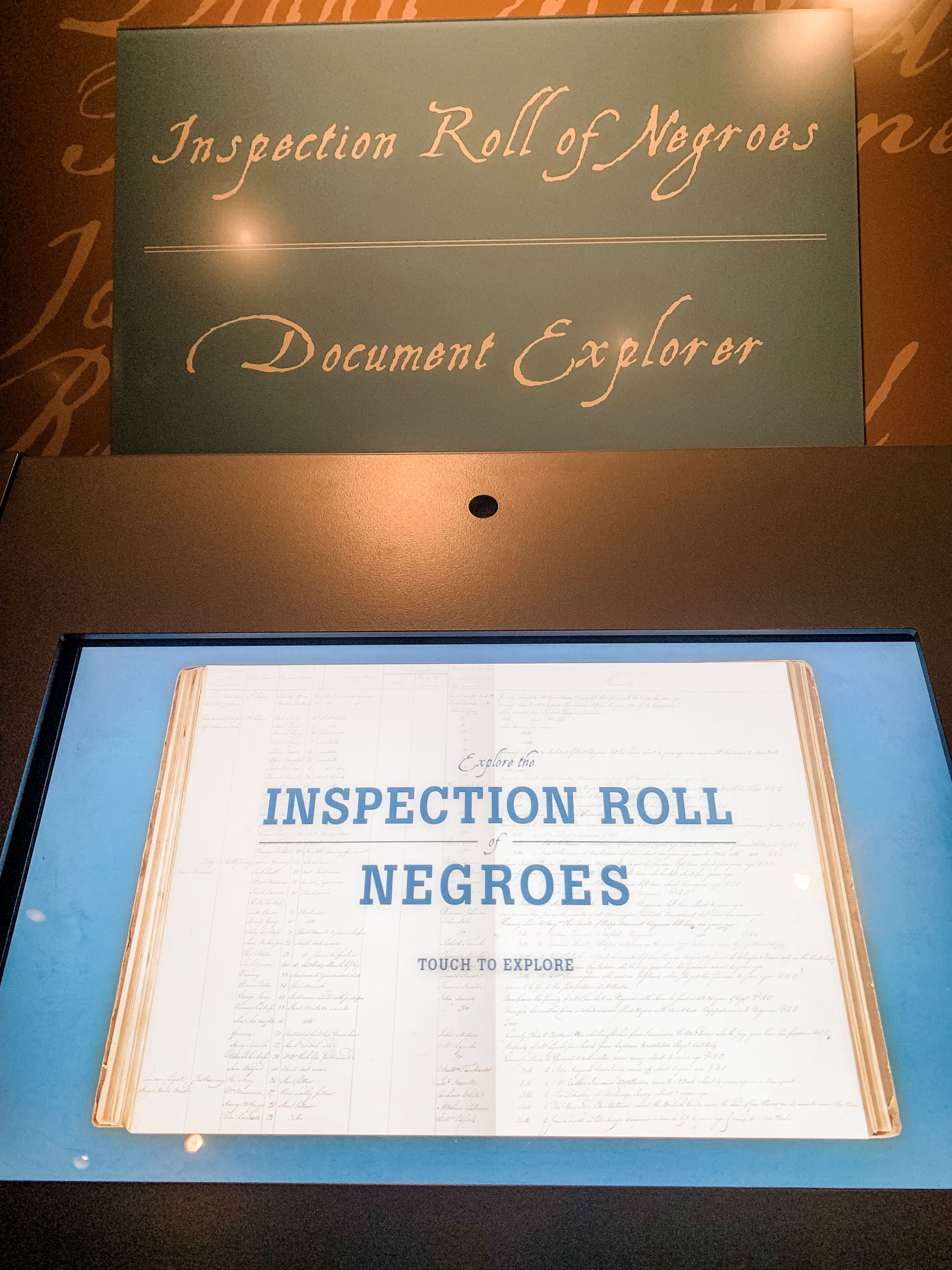 Interactive Exhibit of American and British Inspection Rolls