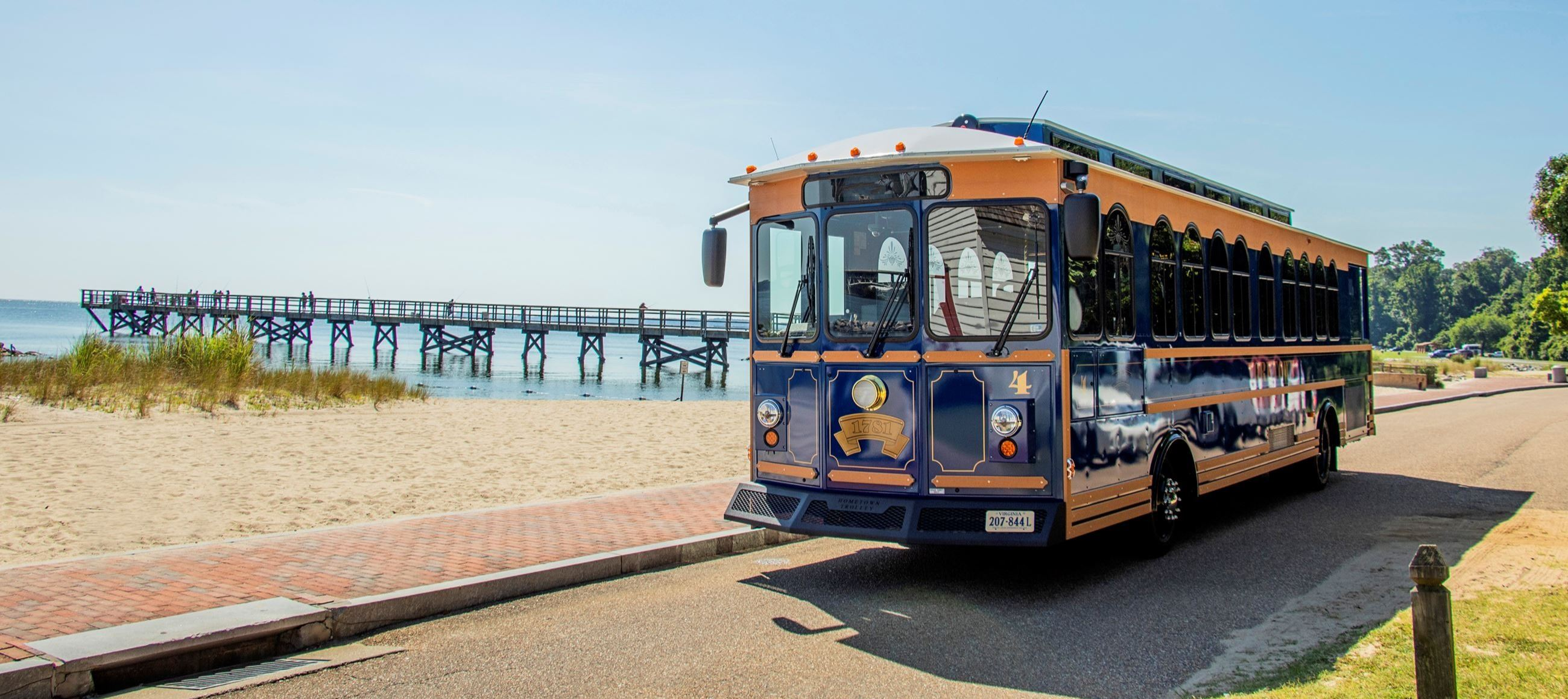 Trolley in front of Fishing Pier
