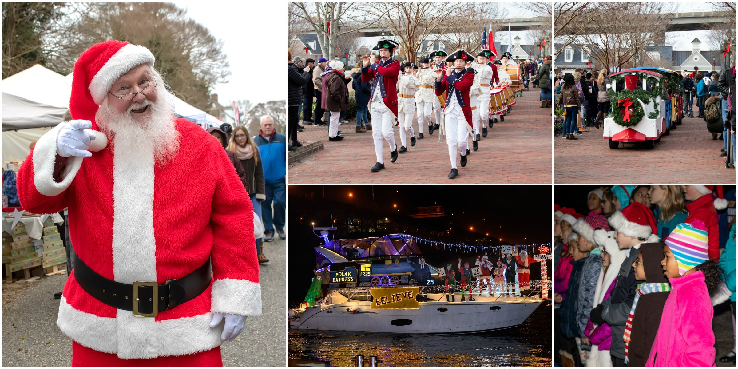 Yorktown Celebrates Christmas collage with santa, fifes and drums, lighted boat parade, and polar ex