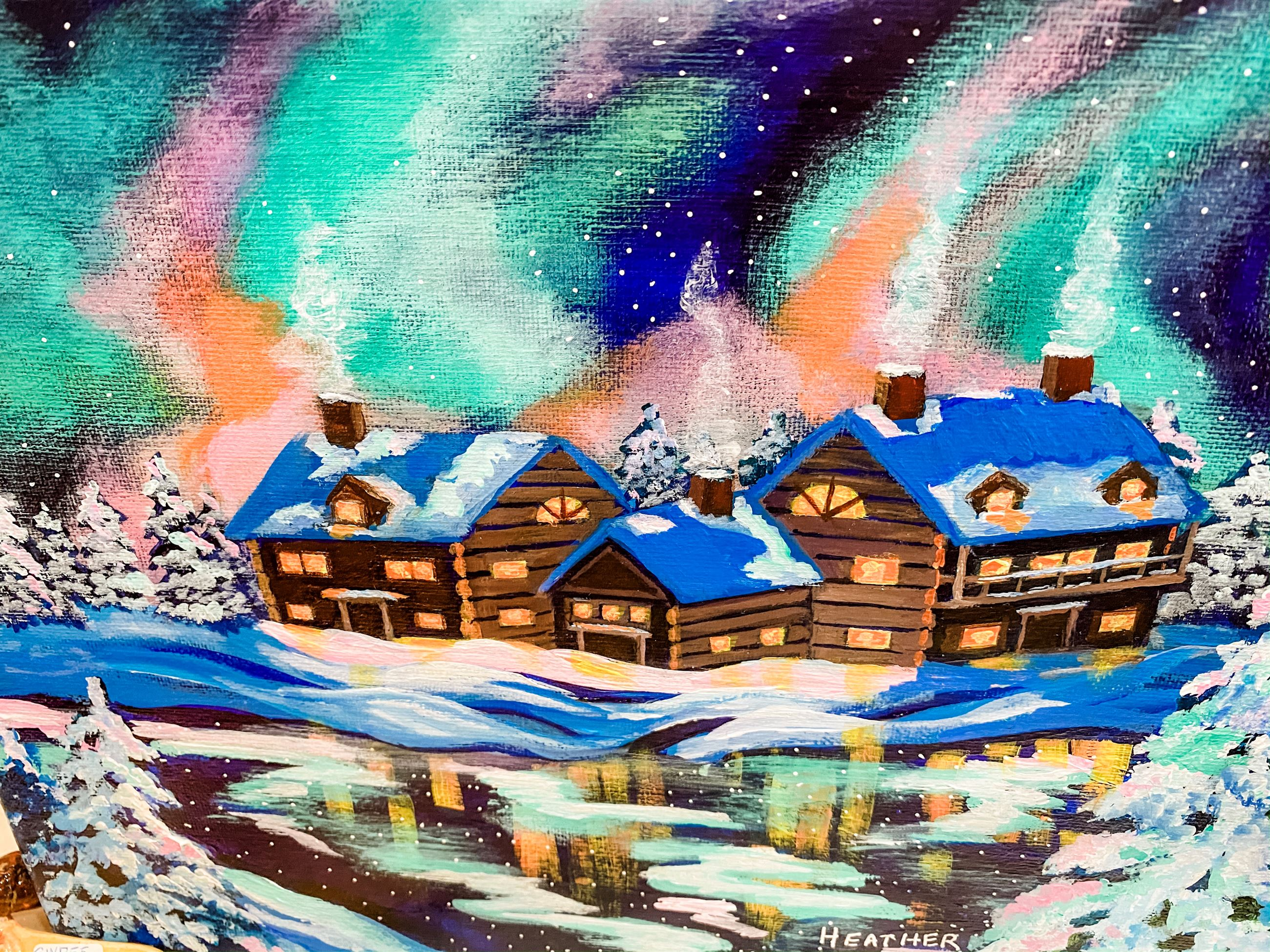 Christmas Cottages Painting at Gallery at York Hall