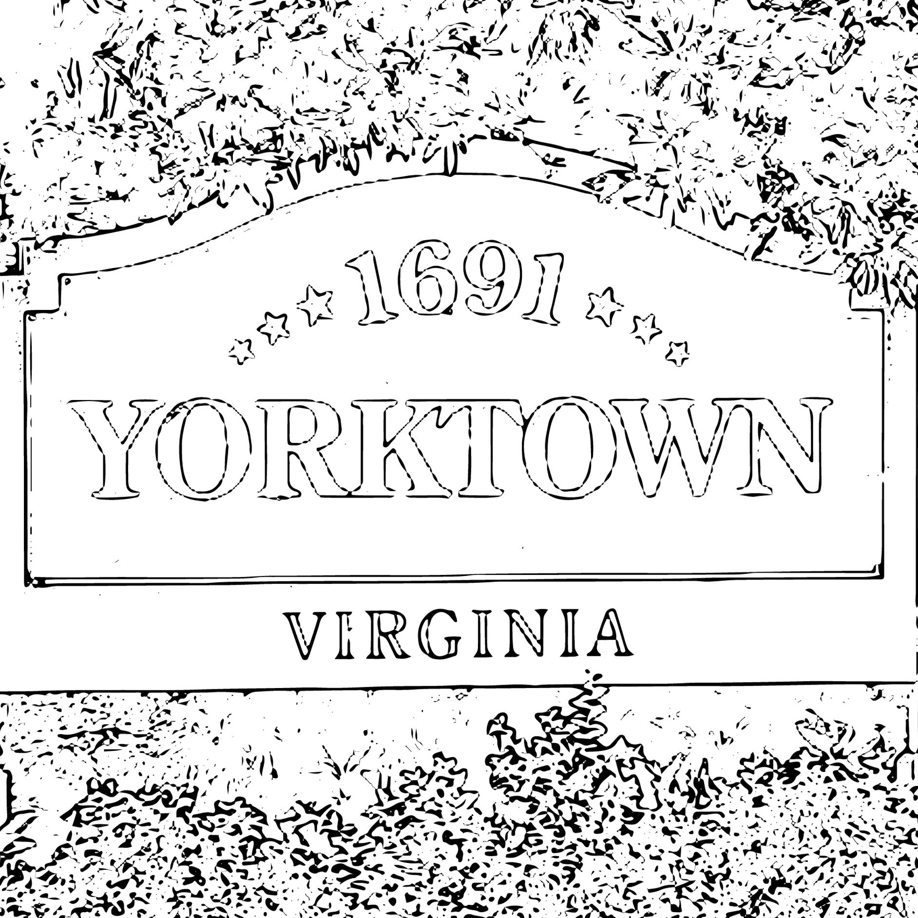 Coloring Pages Yorktown Sign