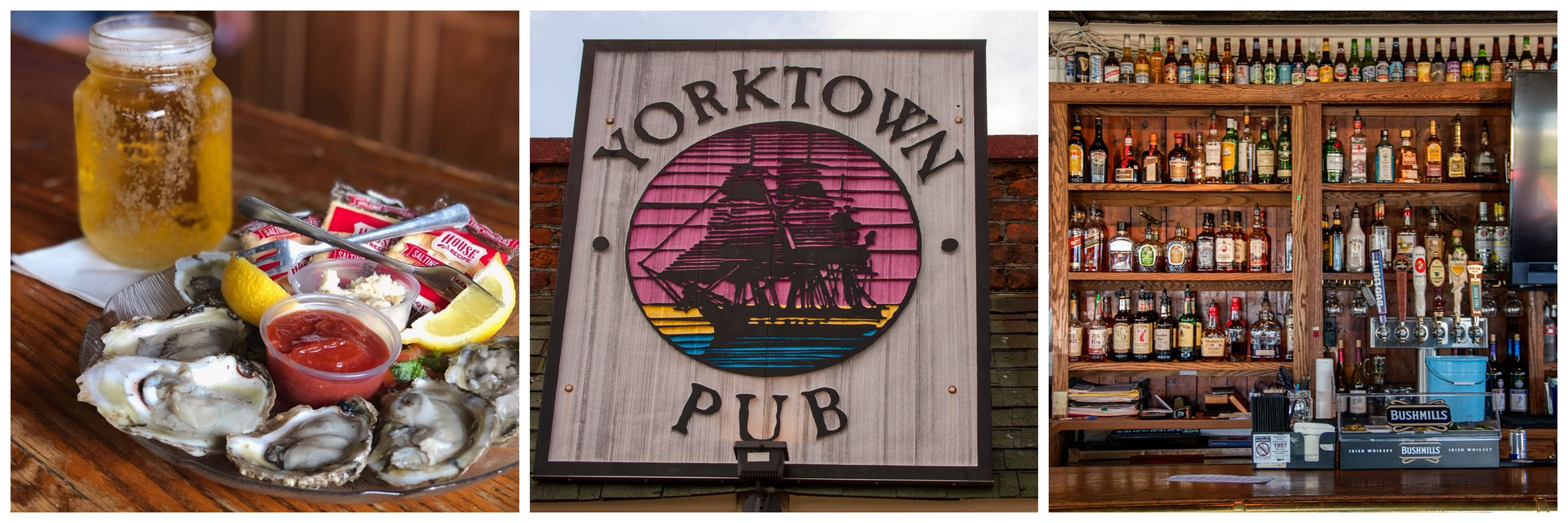 Yorktown Pub beer and oysters