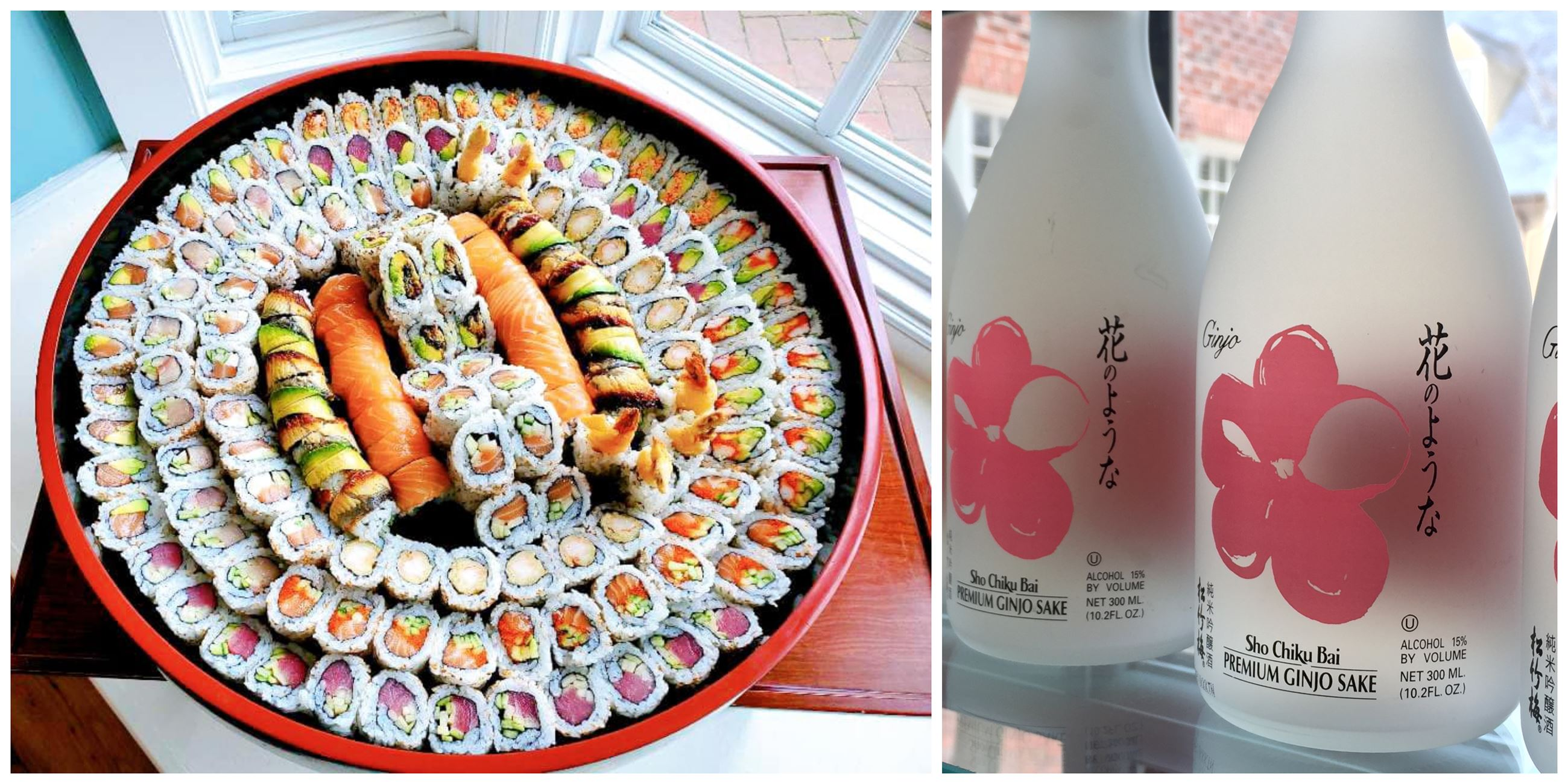 Custom sushi order from Umi sushi and bottles of premium ginjo sake