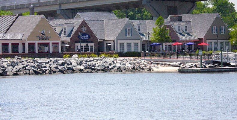 Historic Yorktown Riverwalk Landing from water